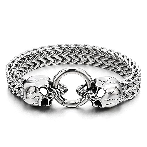 COOLSTEELANDBEYOND Gothic Mens Stainless Steel Skull Franco Link Curb Chain Bracelet with Spring...