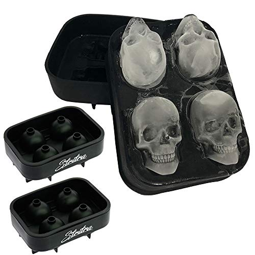 Stritra - 3D Skull Ice Mold (Pack of 2) Easy Release Silicone Mold,8 Cute and Funny Ice Skull for...