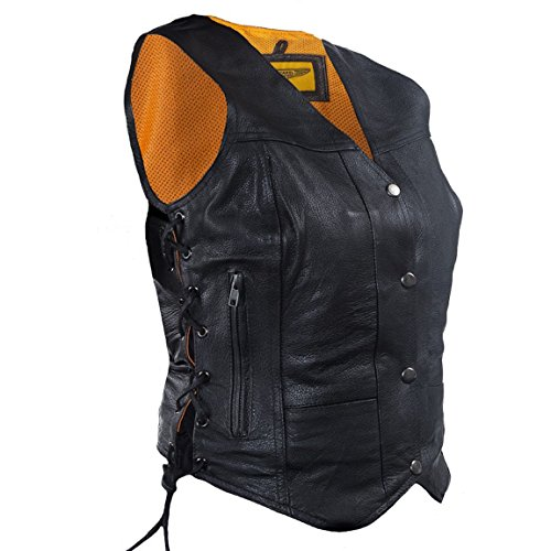 Womens 7 Pocket Naked Leather Motorcycle Vest with Gun Pockets (XL, Black)