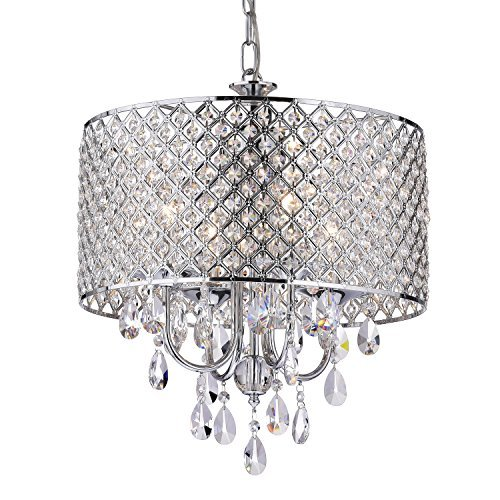EDVIVI Marya Drum Crystal Chandelier Ceiling Fixture| 4 lights Glam Lighting Fixture with Chrome...