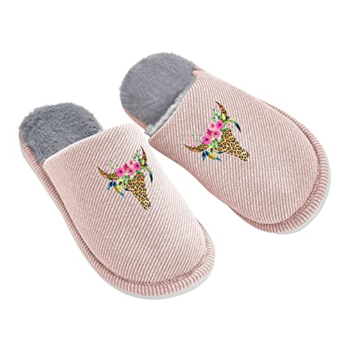 Cow Leopard Bull Skull Women'S Plush Slippers Warm Anti Skid Home Shoes Printed Outdoor Slippers...