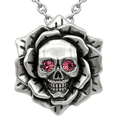 Skull Rose Birthstone Necklace with Swarovski Crystal 17' - 19' Adjustable Chain (07-July – Red)