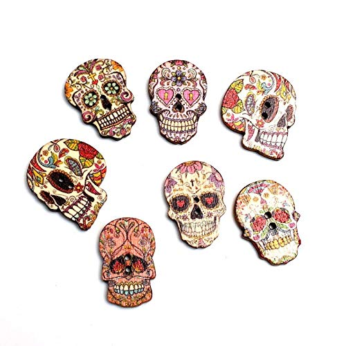 VasyShop 50pcs Mixed 24x20mm Skull Wooden Buttons For Clothes Needlework Scrapbooking Crafts Diy...