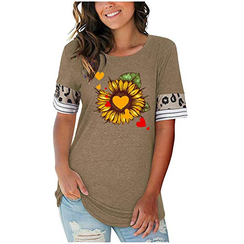 Summer Shirts for Women Printed Short Sleeve T Shirt Casual Loose Lady Tops Tees Graphic Tees