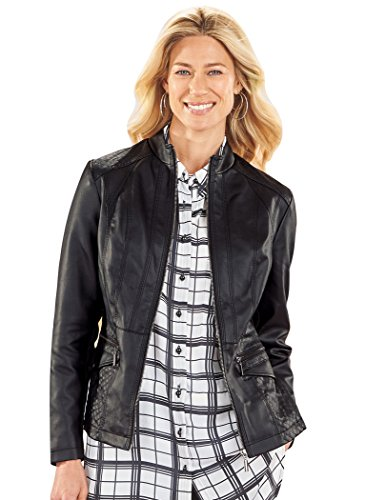 AmeriMark Women's Faux Leather Jacket with Front Zipper and Quilted Shoulders Black 2X