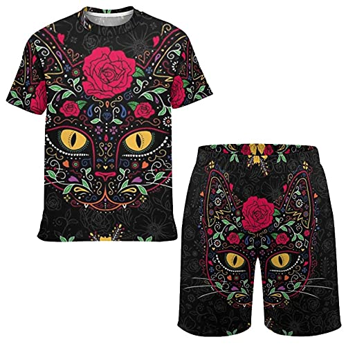 Boys and Youth Casual T-Shirts & Shorts Outfit Set, Day Of The Dead Kitty Cat Sugar Skull Fashion...