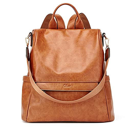 CLUCI Women Backpack Purse Fashion Vintage Leather Large Travel Ladies Shoulder Bags Two-Toned Brown