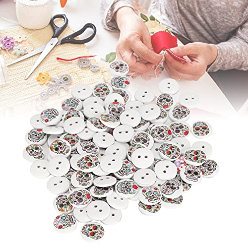 Skull Buttons, 15mm Button Sewing Accessories Fine Workmanship Painted Button for Crafts Making...