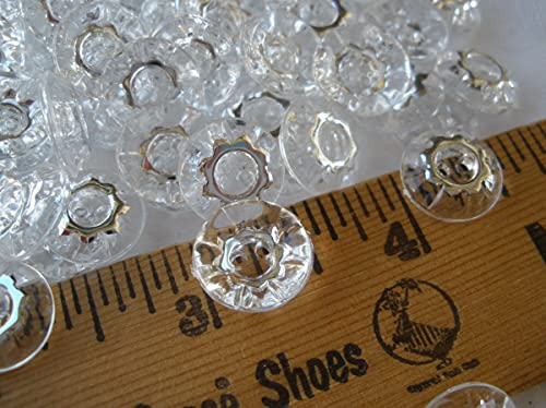 Rirostisale for your pleasure Clear & Silver Gear Buttons 13MM 2H Plastic Starburst 100pc Lot 1/2'...