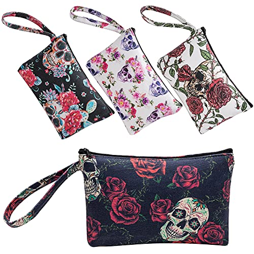 CINPIUK 4 Set Sugar Skull Makeup Bags Canvas Cosmetic Pouches with Handle Zippered Toiletry Pouch...