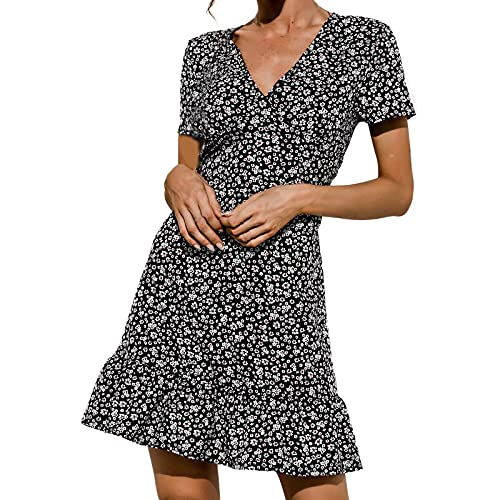 Akklian Summer Dress for Women Loose Fit, Womens Froral Dress Sexy V-Neck Short Sleeve Casual Beach...