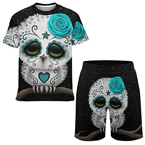 Boys and Teens Comfortable Cute Teal Day Of The Dead Sugar Skull Owl Stars T-shirt and Shorts 2...