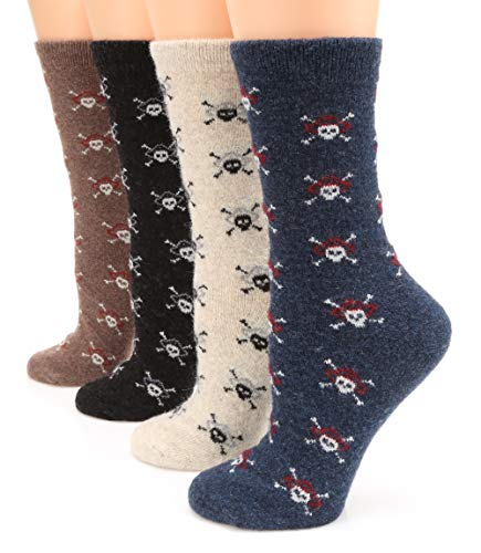 MIRMARU Women's 4 Pairs Wool Blend Thick Soft Knitted Warm Cozy Fashion Novelty Casual Crew Socks...