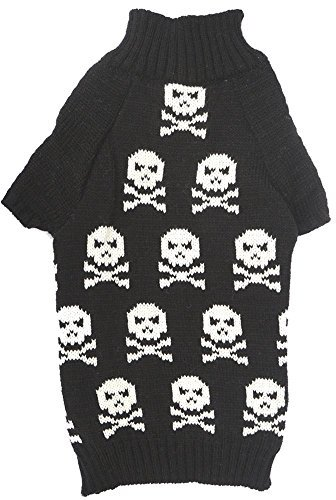 Black Fashion Pet Halloween Costume Clothes Skull Dog Sweater for Dogs, Large (L) Size