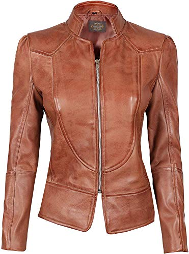 Decrum Brown Leather Jackets for Women - Real Lambskin Leather Jacket Women [1300862]   Brown Amy, S