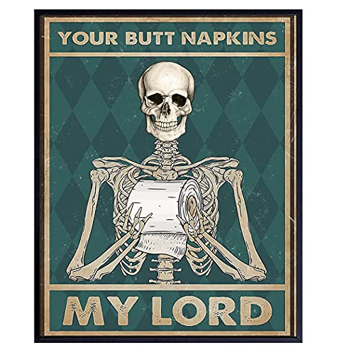 Your Butt Napkins My Lord - Gothic Bathroom Decor - Funny Bathroom Wall Art - Toilet Paper Wall Art...