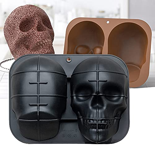 3D Large Skull Baking Pan Molds, Halloween Skull Silicone Mold, DIY Silicone Cake Molds for...