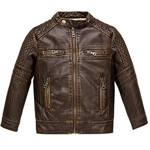 Budermmy Boys Motorcycle Jacket Faux Leather Jackets for Kids Coats for Costume Party Waterproof...