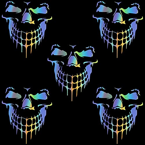 OIIKI 5Pcs 3D Laser Skull Car Stickers Decals, Reflective Multicolored Cartoon Waterproof...