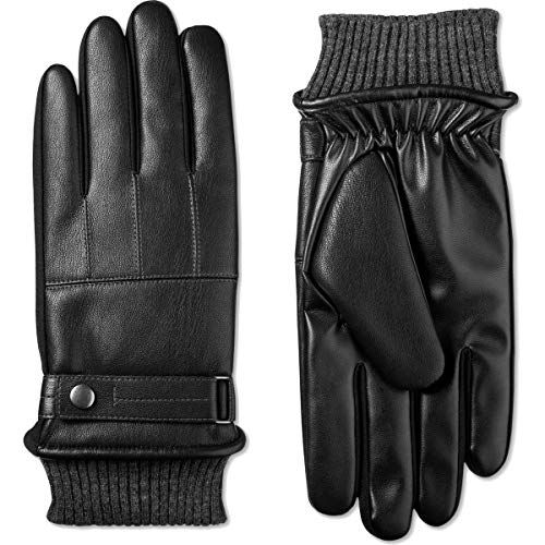 Isotoner Mens Faux Leather Fleece Lined Winter Gloves Black XL