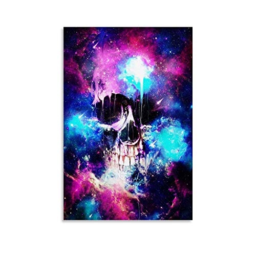 YRET Space Poster Skull Canvas Art Poster and Wall Art Picture Print Modern Family Bedroom Decor...