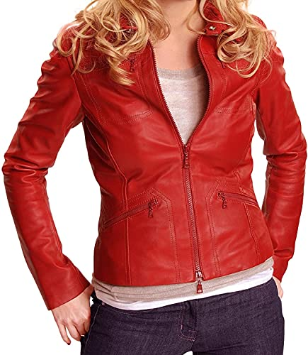 Women's Red Emma Swan Once Upon A Time Lambskin Leather Jacket (X-Large)