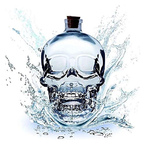 Decanter Wine Decanter, Whiskey Decanter Crystal Large Skull Face Bottle, Thickened Glass with Cork,...