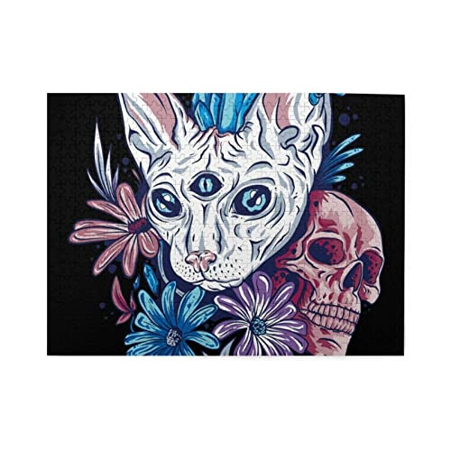 Trippy Cat Skull Flowers Jigsaw Puzzles500 Pieces Jigsaw Puzzle for Adults Kids 3D Best Gift for...