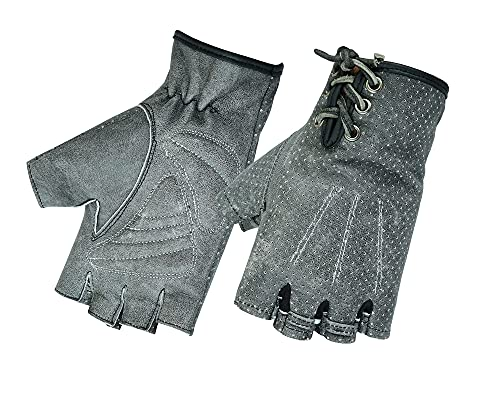 Daniel Smart Women's Washout-Out Grey Perforated Fingerless Gloves
