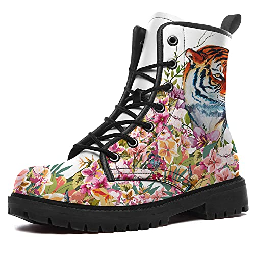 Tiger Boots for Women Men Waterproof High Top Boots White Flower Tiger Boots Durable Non-Slip Hiking...
