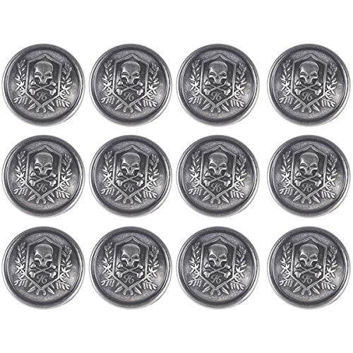 Tvoip 12Pcs Metal Buttons Domineering Skull Buttons Casual Suit Windbreaker Casual 25mm Button...