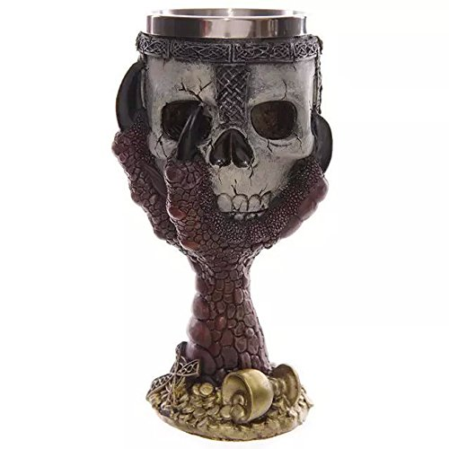 Skull Head with Claw Golbet Drinking Cup Stainless Steel Medieval Skeleton Chalice Skull Cup Dragon...