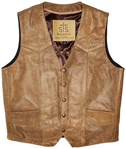 STS Ranchwear Men's Lightweight Classic Leather Vest (Antique Brown, Extra Large)