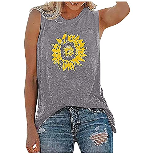 Workout Tops for Women, Womens Tank Tops Casual Loose Fit O-Neck Plus Size Tunic Blouse Sunflower...