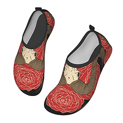 WOAIDY Women/Men Goat Skull Red Roses Water Shoes Outdoor Beach Aqua Socks Barefoot Shoes Surfing...