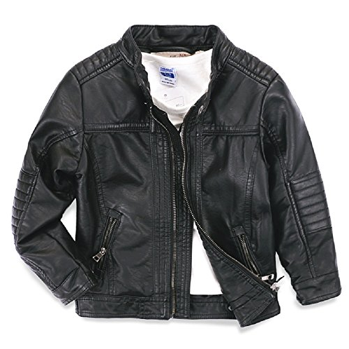 LJYH Boys Leather Jackets New Spring Children Collar Motorcycle Faux Leather Zipper Coats 4/5yrs...