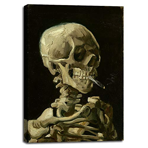 Skull of a Skeleton with Burning Cigarette, 1886 by Vincent Van Gogh - Canvas Prints Wall Art...