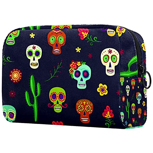 Makeup Cosmetic Bag Coin Purse Travel Cosmetic Pouch Toiletry Bag sugar skull flower cacti blossom