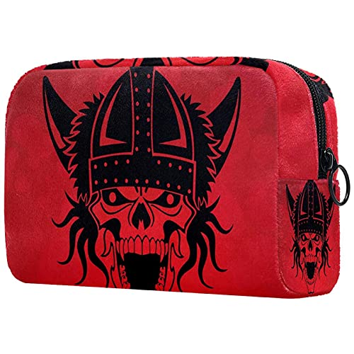 Makeup Cosmetic Bag Coin Purse Travel Cosmetic Pouch Toiletry Bag viking skull