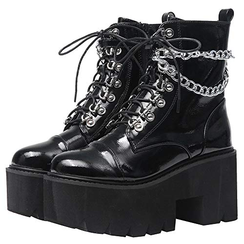CYNLLIO Fashion Block Heel Platform Chain Combat Ankle Booties Women's Lace up Studded Motorcycle...