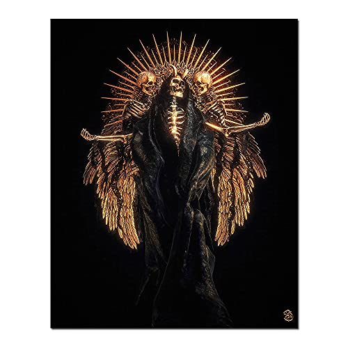 Skull Poster Vampire Lord Wall Art Scary Demons with Gold Wings Vintage Gothic Wall Decor Poster...