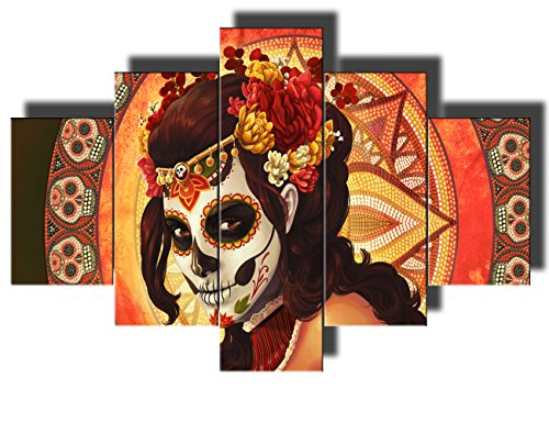 Day of The Dead Decor Framed Wall Art for Living Room Portrait of Calavera Catrina Pictures Sugar...