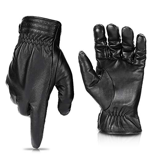 Winter Sheepskin Leather Driving Gloves for Men Women All Fingers Touchscreen Texting Riding Winter...