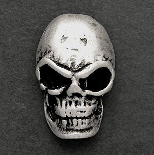 4-pcs 24mm Metal Skull Button with Shank, TR-11144 (Silver)