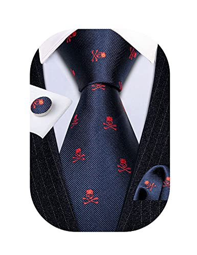 Barry.Wang Mens Novelty Tie Silk Jacquard Blue Red Skull Holiday Fashion Necktie And Pocket Square...