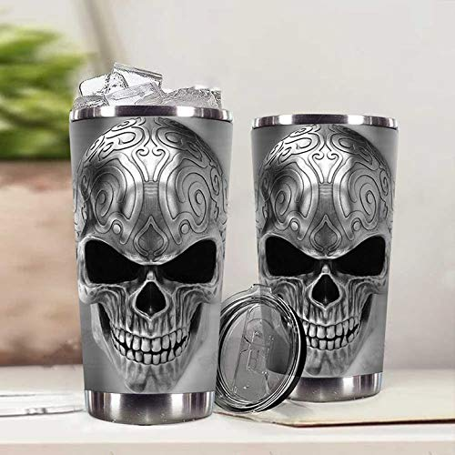 City Barks Tumbler SHIFTY SILVER SKULL TUMBLER 20oz Stainless Steel Tumbler with Lid Vacuum...