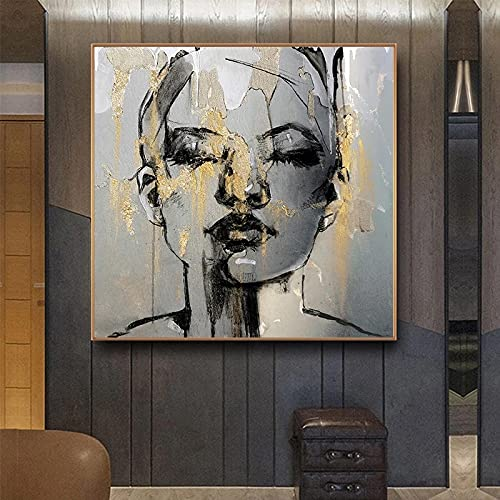 Modern Abstract Golden Girl Face Canvas Painting Character Women Posters Prints Living Room...
