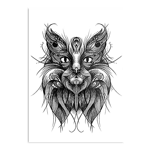 Cat Drawing Art Poster Decorative Trends Painting Wall Art for Room