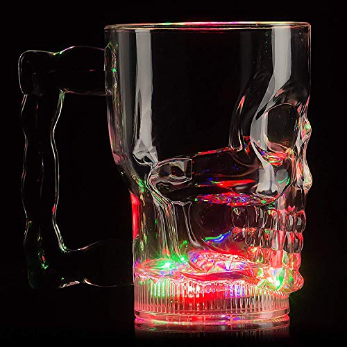 Fun Central 20oz LED Light Up Skull Mug for Halloween Party and Event