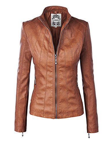 Made By Johnny MBJ WJC877 Womens Panelled Faux Leather Moto Jacket L Camel